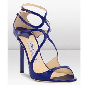 "Jimmy Choo ""Lance"" blue patent leather sandals"