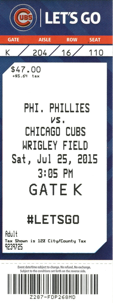 Chicago Cubs Ticket Stub 2015 07-25 Cole Hamels No Hitter Box Office Stock