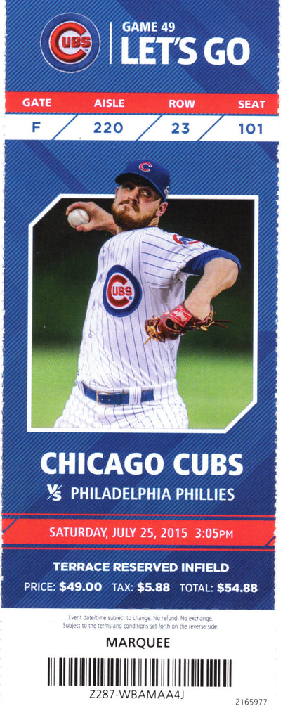 Chicago Cubs Ticket Stub 2015 07-25 Cole Hamels No Hitter STH Stock