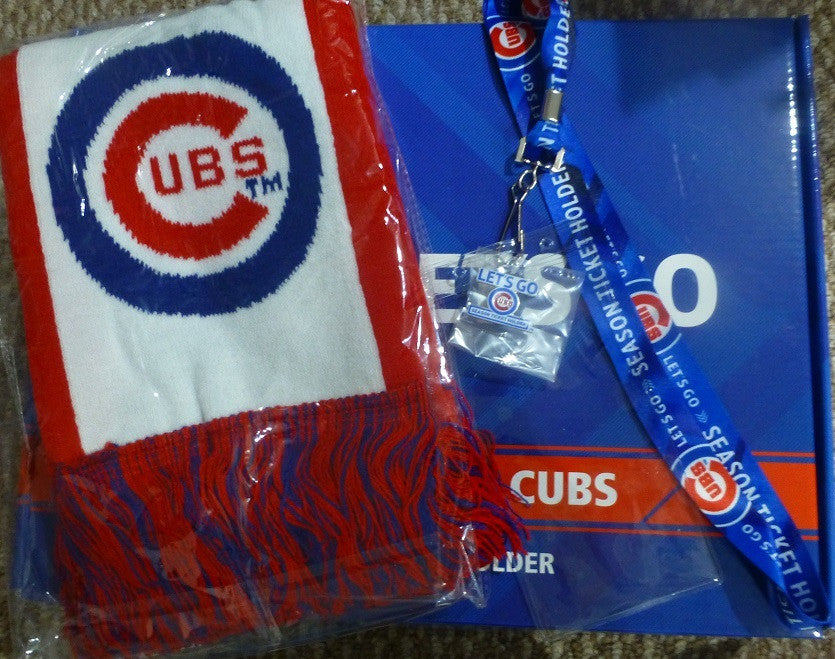 Chicago Cubs 2015 Season Ticket Holder Bundle - Scarf, Pin, Lanyard