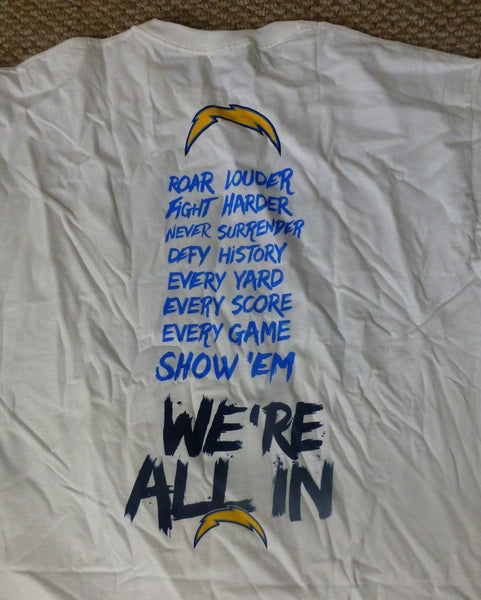 San Diego Chargers 2015 Season Ticket Holder T-Shirt Adult XL We're All In