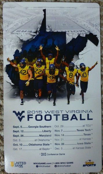 West Virginia Mountaineers 2015 Football Magnet Schedule