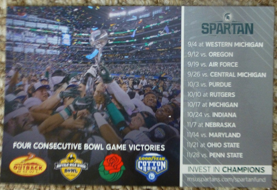 Michigan State Spartans Football 2015 Magnet Schedule