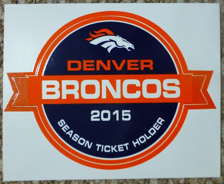 Denver Broncos Sticker 2015-2016 Season Ticket Holder
