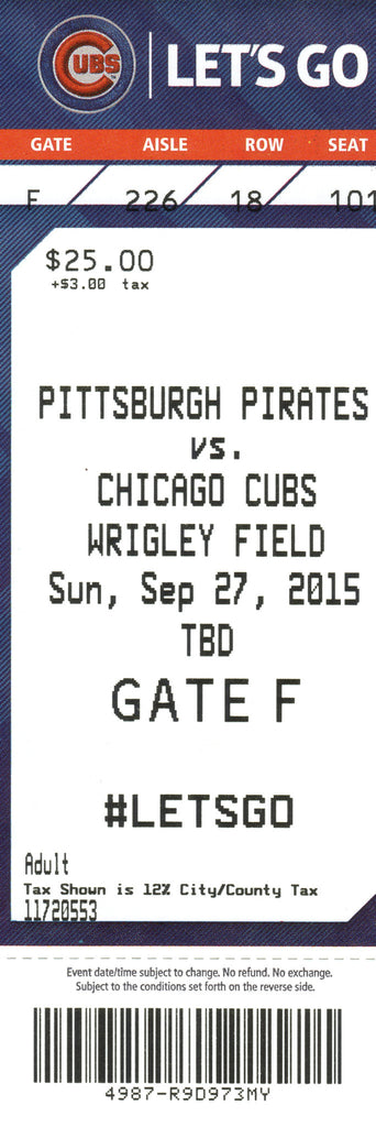 Chicago Cubs Ticket Stub 2015 09/27/15 Box Office Stock