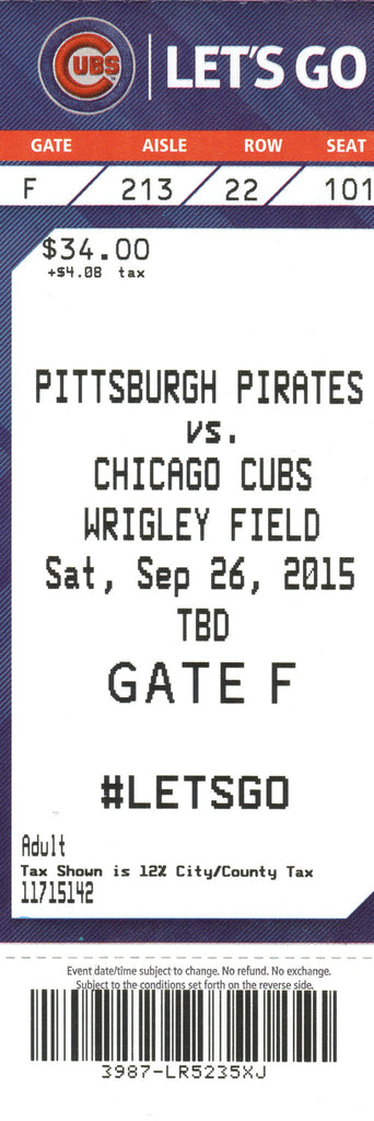 Chicago Cubs Ticket Stub 2015 09/26/15 Box Office Stock