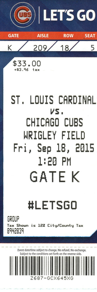 Chicago Cubs Ticket Stub 2015 09/18/15 Box Office Stock