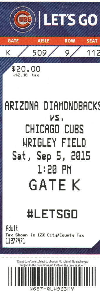 Chicago Cubs Ticket Stub 2015 09/05/15 Box Office Stock