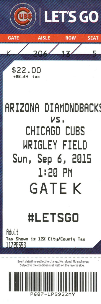 Chicago Cubs Ticket Stub 2015 09/06/15 Bryant Home Run Box Office Stock
