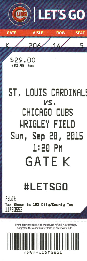 Chicago Cubs Ticket Stub 2015 09/20/15 Box Office Stock