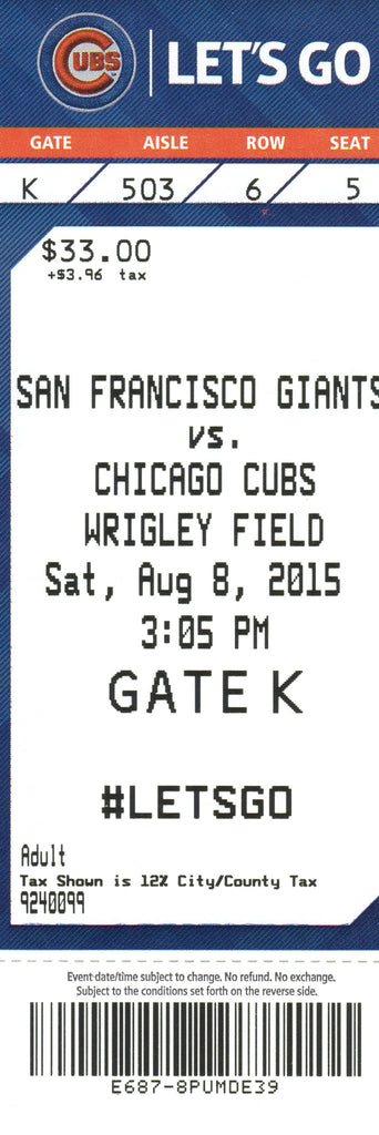 Chicago Cubs Ticket Stub 2015 08/08/15 Bryant Home Run Box Office Stock