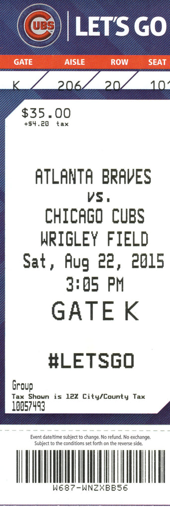 Chicago Cubs Ticket Stub 2015 08/22/15 Rizzo, Russell, Soler Home Run Box Office Stock