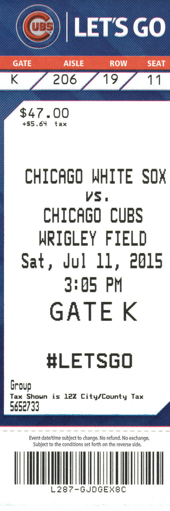Chicago Cubs Ticket Stub 2015 07/11/15 Box Office Stock