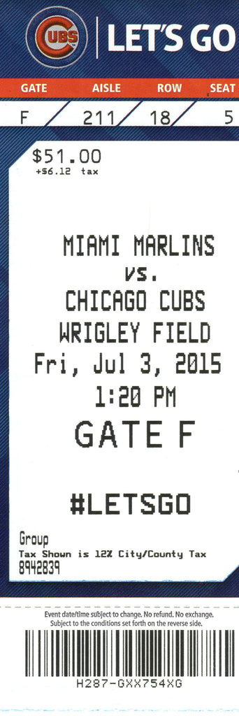 Chicago Cubs Ticket Stub 2015 07/03/15 Box Office Stock