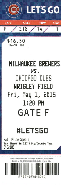Chicago Cubs Ticket Stub 2015 05/01/15 Russell Home Run Box Office Stock
