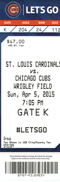 Chicago Cubs Ticket Stub 2015 04/15/15 Opening Day Box Office Stock
