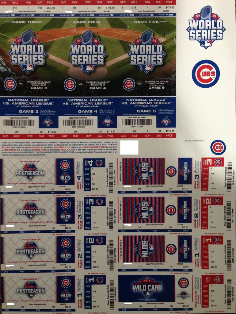 Chicago Cubs 2015 Playoff Strip Unused Postseason NLCS NLDS World Series Ticket Stub