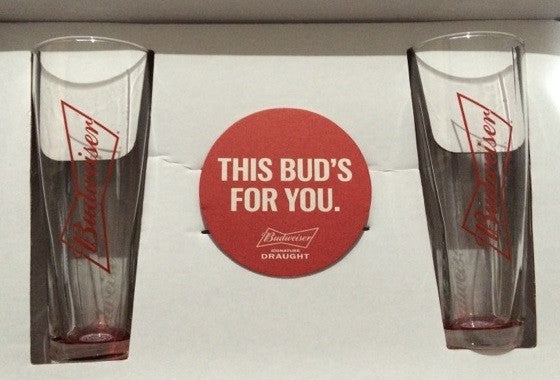 Budweiser Pint Glasses Set of 2 with Coaster