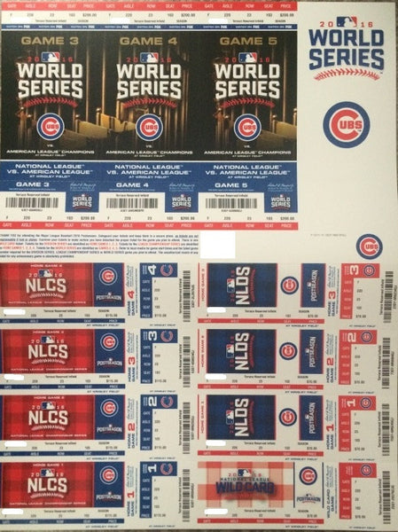 Chicago Cubs 2016 Postseason Season Ticket Stubs Full Sheet NLDS NLCS World Series