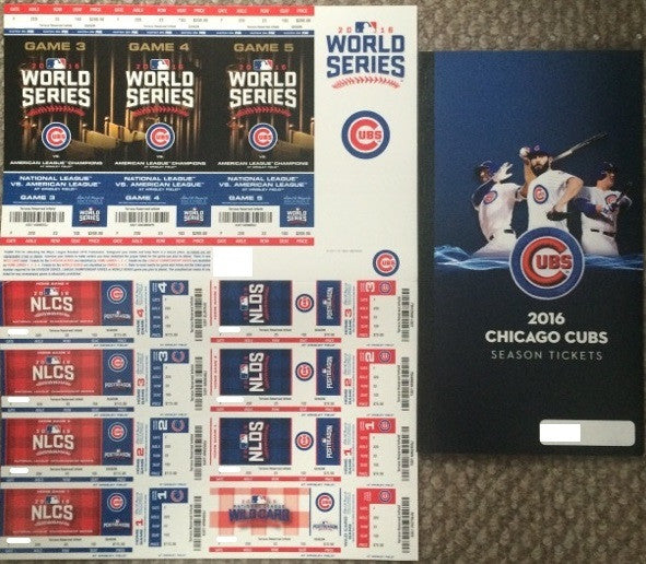 Chicago Cubs 2016 Season Ticket Book and Postseason Full Sheet NLDS NLCS World Series
