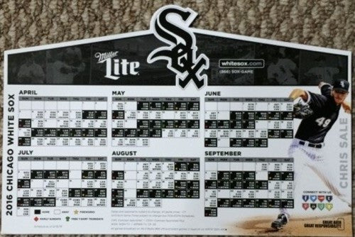 Chicago White Sox 2016 Magnet Schedule