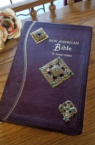 NAB Ornate Brass Jeweled Bible Burgundy