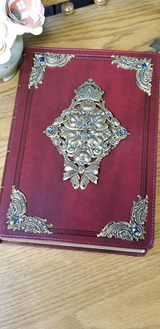 KJV Ornate Brass with Blue Stones Super Giant Print Jeweled Bible Burgundy