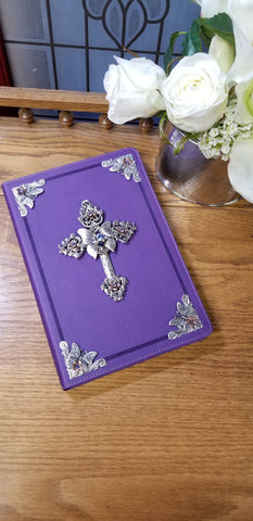 NKJV Butterfly with Swarovski® Crystals Jeweled Bible-Purple Large Print