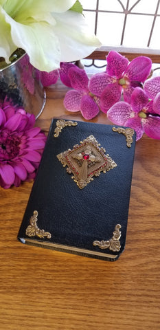 Antiqued Brass and Red Accents Bible - Choice of KJV or NKJV Compact Edition