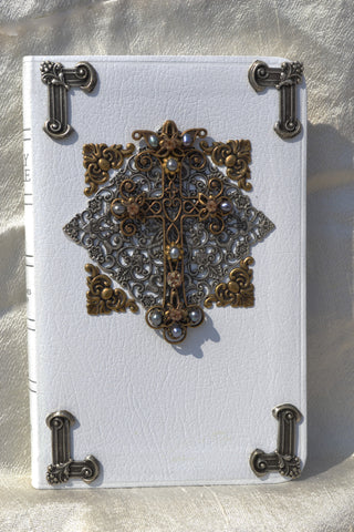 KJV Treasures In White Jeweled Bible RETIRED