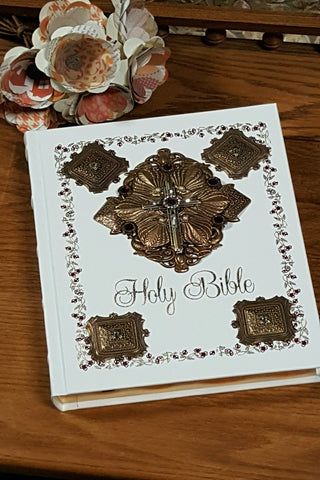 NAB Jeweled Catholic Family Bible-Ivory