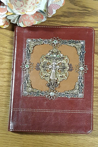 KJV Framed Cross with Flowers Personal Size Jeweled Bible-Brown