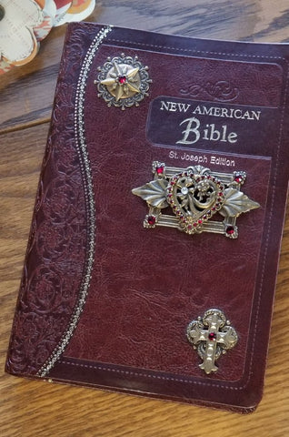 NAB Red Heart Catholic Jeweled Bible - Burgundy