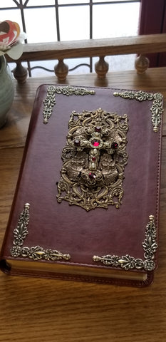 NKJV Ruby Crystals Decorated Cross Jeweled Bible Brown