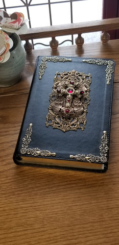 NKJV Ruby Crystals Decorated Cross Jeweled Bible Black
