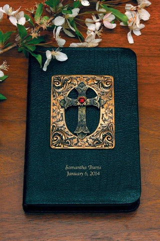 Antiqued Brass and Garnet Cross Bible - Choice of KJV or NKJV Compact Edition