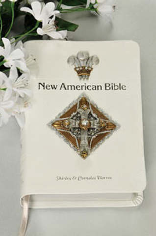 NAB Decorated White Crystal Cross Jeweled Bible RETIRED