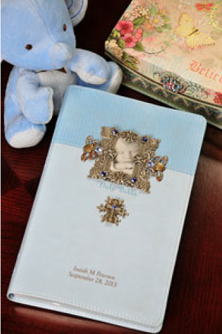NIV Baby Boy Keepsake Frame and Cross Jeweled Bible-Blue