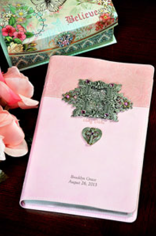 NIV Frame And Heart Jeweled Baby Keepsake Bible-Pink