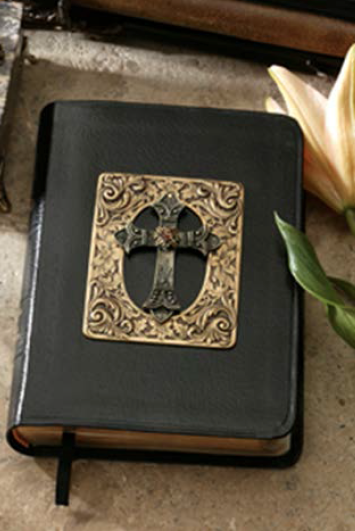 Framed Cross with Swarovski® Crystal Jeweled Bible- choice of KJV or NKJV Compact Edition