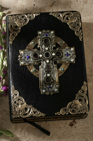 KJV Garnet Celtic Cross Jeweled Bible-Black