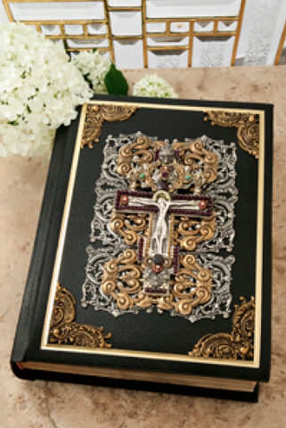 RSV Jeweled Garnet Crucifix Family Jeweled Catholic Bible