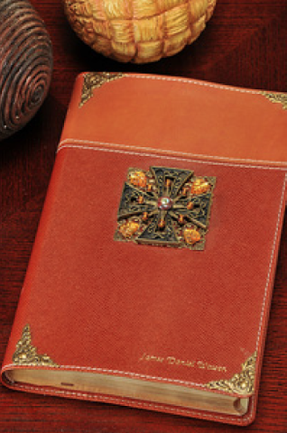 NIV Citrine Maltese Cross Jeweled Bible-Tan/Tan RETIRED