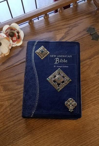 NAB Ornate Brass Jeweled Bible Blue