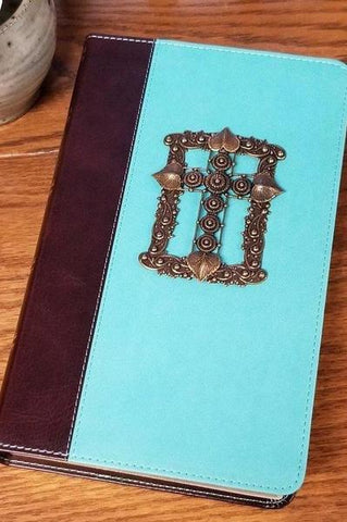 KJV Adorned with Brass Giant Print Jeweled Bible Teal