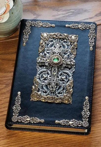 NKJV Peridot Crystals Decorated Cross Jeweled Bible Black