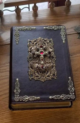 ESV Decorated Cross with Ruby Crystals Jeweled Bible Mahogany