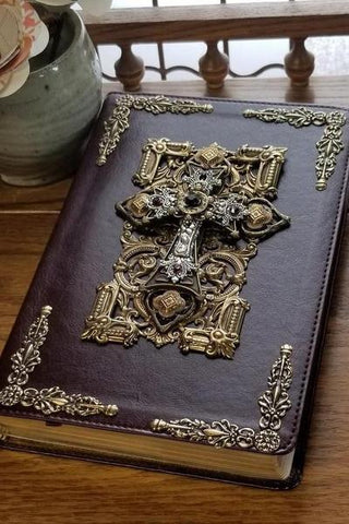 ESV Amethyst Crystals with Ornate Brass Jeweled Bible Mahogany