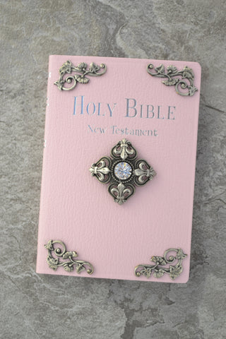 NIV New Testament Fluer De Lis French Cross Baby Bible CHOICE of Colors
