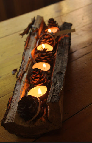 candle wood fall decor